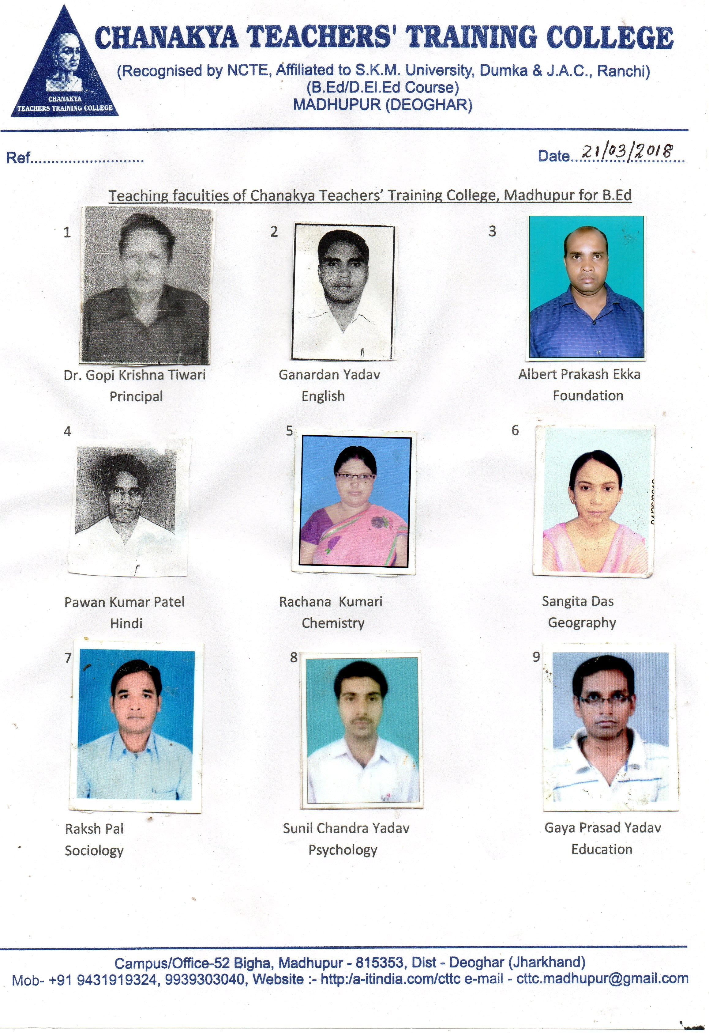 Faculties – Chanakya Teachers Training College